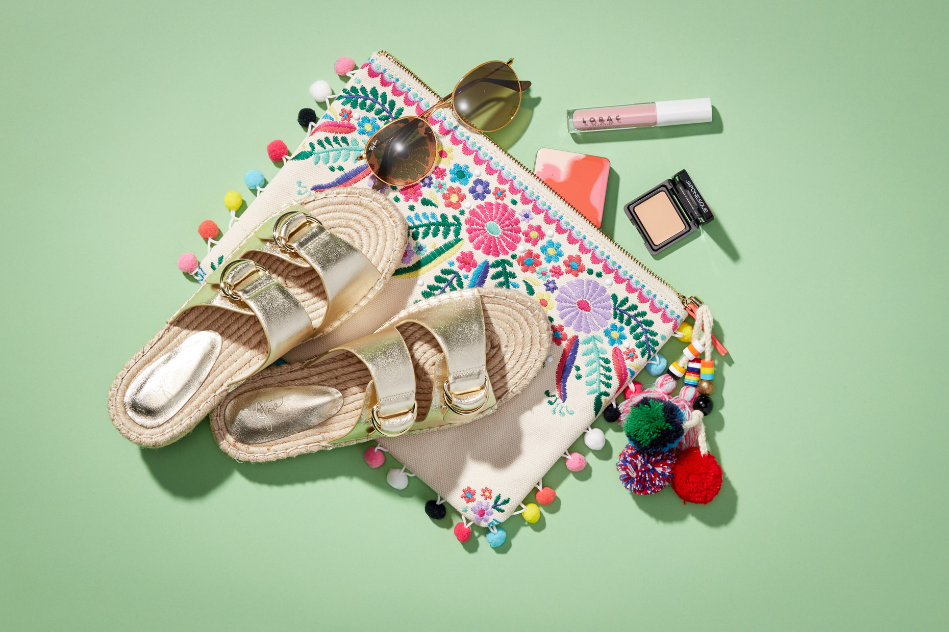 Bag_Sandals_Makeup_Sunglasses_Gold_Multi_POMPOM