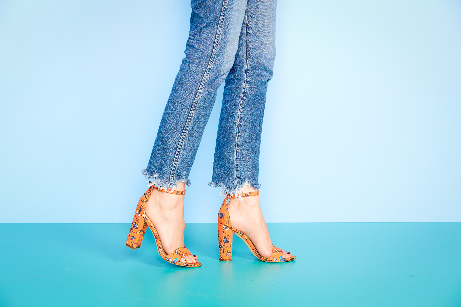 TuesdayShoesday_Heels_Jeans_Orange_Floral